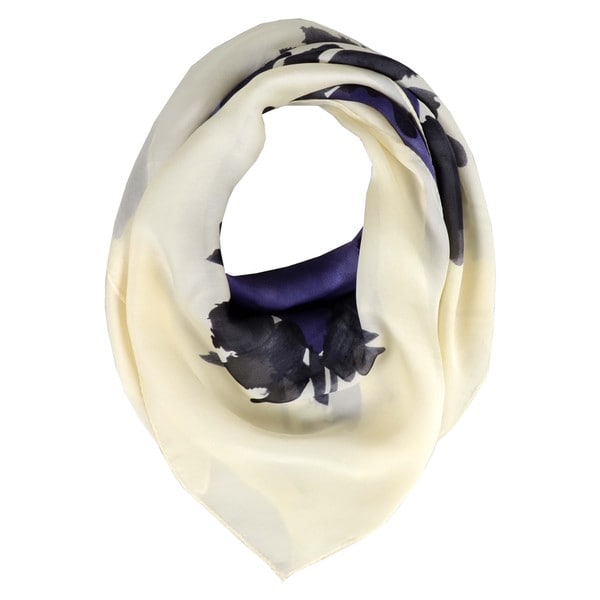 Halston Navy Watercolor Silk Scarf