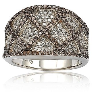Suzy Levian Brown and White Cubic Zirconia Sterling Silver Ring