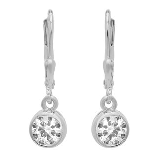 Sterling Essentials Silver Round Cubic Zirconia Petite Drop Earrings