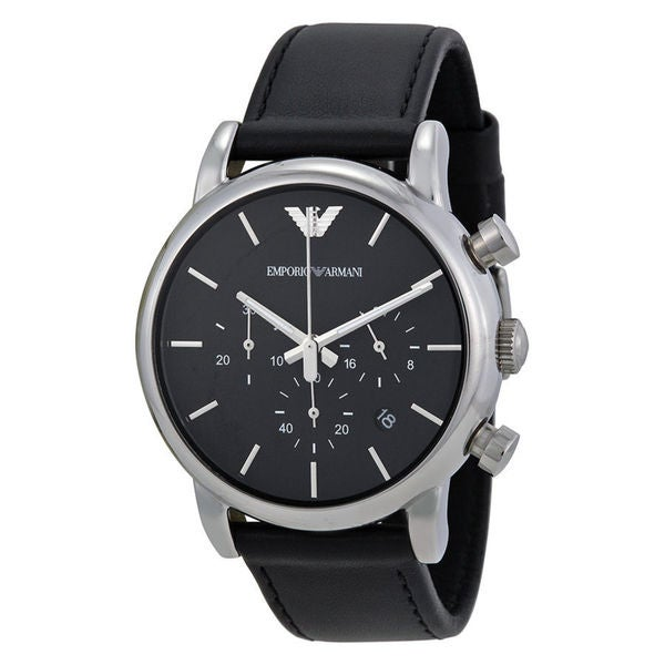 Emporio Armani Men's AR1733 'Classic' Chronograph Black Leather Watch