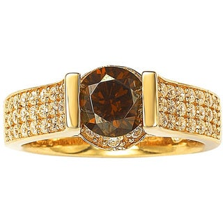 Suzy Levian Bridal 14k Yellow Gold over Silver Brown and White Cubic Zirconia Ring