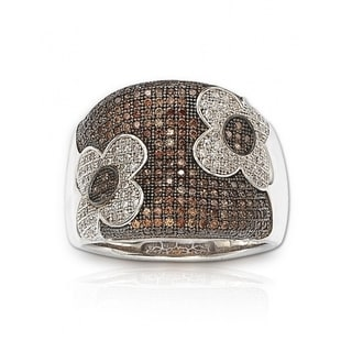 Suzy Levian Sterling Silver Chocolate Cubic Zirconia Pave Ring