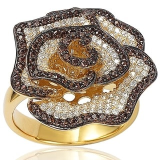 Suzy Levian Sterling Silver Pave-set Brown and White Cubic Zirconia Gemstones Flower Ring