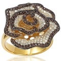 Suzy Levian Pave-set Brown and White Cubic Zirconia Flower Ring