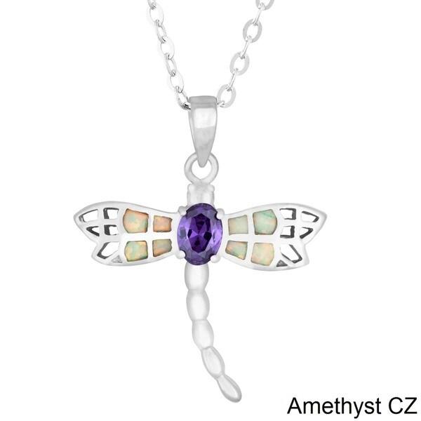 La Preciosa Sterling Silver White Opal and CZ Dragonfly Pendant