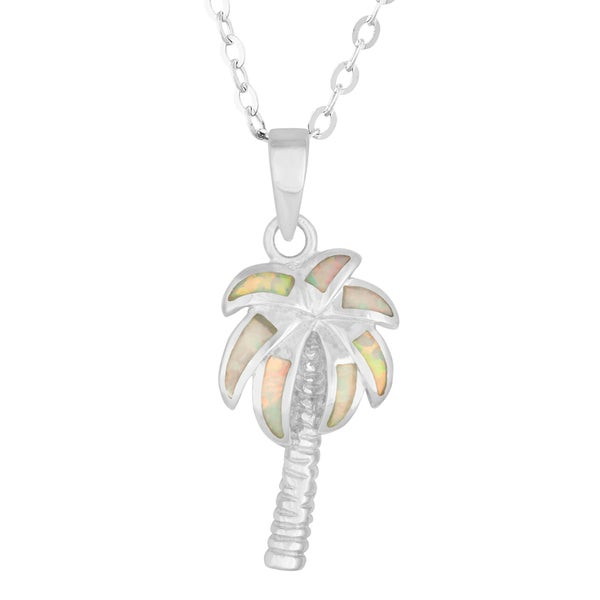 La Preciosa Sterling Silver Created White Opal Palm Tree Necklace