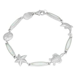 La Preciosa Sterling Silver Created White Opal Sea Life Bracelet