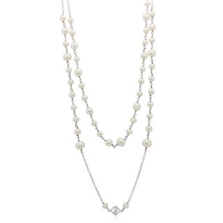 Gioelli Sterling Silver Multi Freshwater Pearl Station Toggle Necklace