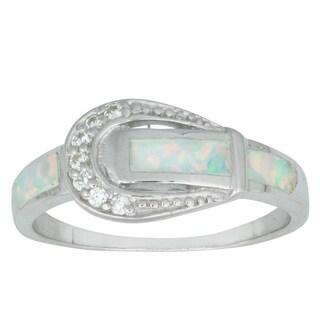 La Preciosa Sterling Silver Created White Opal and Cubic Zirconia Buckle Ring