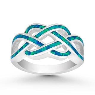La Preciosa Sterling Silver Created Blue Opal Intertwined Ring