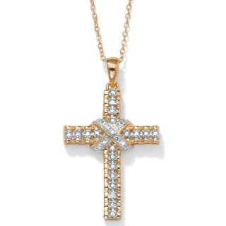 """PalmBeach Diamond Accent 18k Gold over Sterling Silver Religious Cross Pendant and Cable Chain 18"""""""
