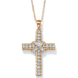 PalmBeach 18k Gold over Silver Diamond Accent Cross Necklace