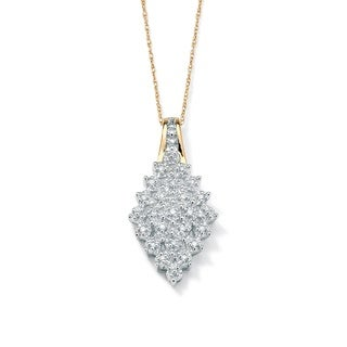 """PalmBeach 1/10 TCW Round Cluster Diamond Pendant Necklace in 10k Gold 18"""""""