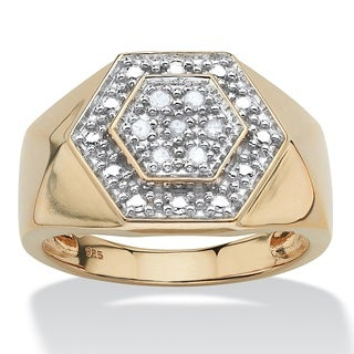 PalmBeach Men's .10 TCW Round Diamond Hexagon Ring in 18k Gold over Sterling Silver