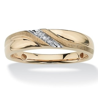 PalmBeach Men's Round Diamond Accent Wave Ring in 10k Gold
