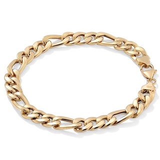 Palm Beach Men's 10k Yellow Gold Figaro 8-inch Bracelet