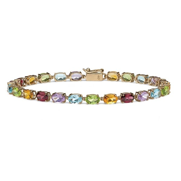 Palm Beach 10k Gold Multi-gemstone 7.25-inch Bracelet