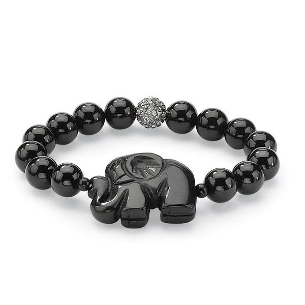 Palm Beach Black Agate Elephant Stretch Bracelet