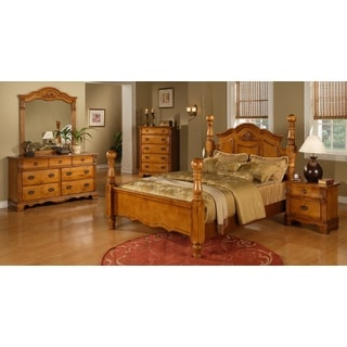 Vista Warm Pine 5-piece Poster Bedroom Set