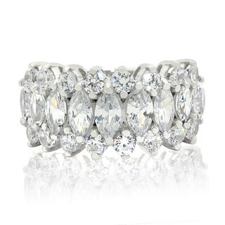 Gioelli Designs Sterling Silver Marquise-cut Cubic Zirconia Designer Ring