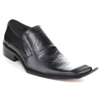 Unique Men's 'G836-6' Black Leather Slip-on Loafers