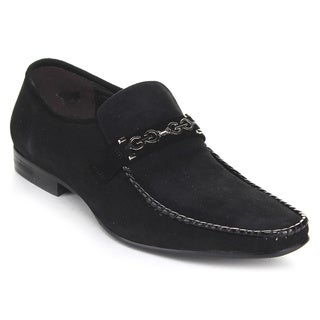 Unique Men's 'G6850-6B' Chain-trim Stacked Loafers