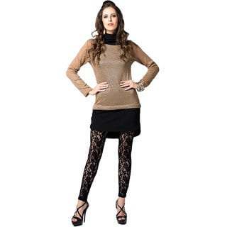 Sara Boo Women's Khaki and Black Woven Tunic Dress