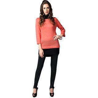Sara Boo Women's Orange Woven Tunic Dress