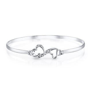 Love Grows 'Love' Sterling Silver Catch Bangle