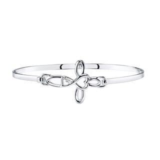 Love Grows Sterling Silver Heart Cross Design Catch Bangle