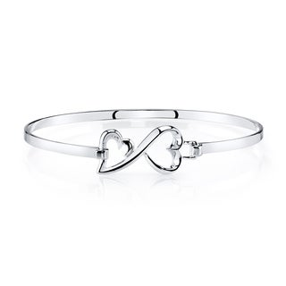 Love Grows Sterling Silver Catch Double Heart Bangle