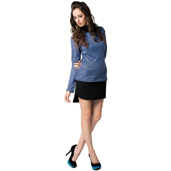 Sara Boo Women's Blue and Black Woven Tunic Dress (As Is Item)