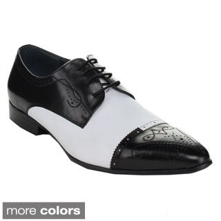 Unique Men's HX705-302 Classic Lace-up Two Tone Floral Breathable Oxfords