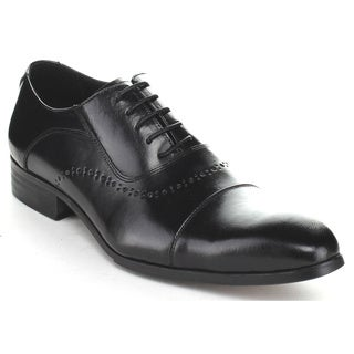 Unique Men's HX81129 Black 5 Eye Lace-Up Dress Oxford Shoes