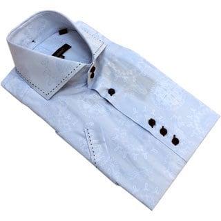 Bogosse Men's Light Blue Embossed Short Sleeve Shirt