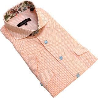 Bogosse Men's Orange Print Button-down Short Sleeve Shirt