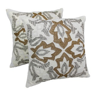 Blazing Needles 20-inch Symmetrical Floral Beaded Throw Pillows (Set of 2)