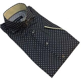 Bogosse Men's Black Printed Short Sleeve Button Down Shirt