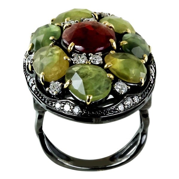 Contessa 18k Yellow Gold Sterling Silver Sapphire Spinel and 7/8ct TDW Diamond Ring (H-I, I2-I3)