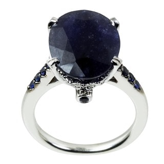 14k White Gold Blue Sapphire, 1/6ct TDW Diamond Ring