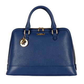 Versace Large Bright Blue Pebbled Leather Satchel