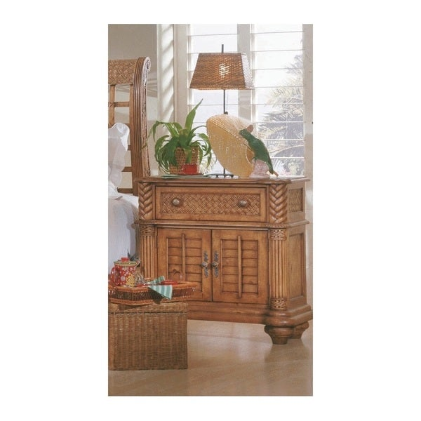 Palm Court Island Pine Bedside Chest 2-drawer Nightstand