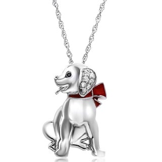 ASPCA Sterling Silver Diamond Accent and Red Enamel Dog Pendant (I-J, I2-I3)