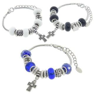 Eternally Haute Murano Style Glass Cross Charm Bracelets