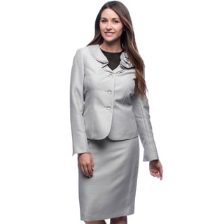 Le Suit Women's Shimmery Silver Ruffled-collar Skirt Suit