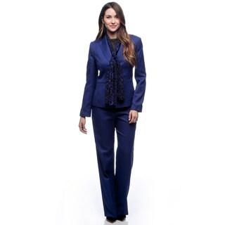 Le Suit Women's Royal Blue Melange Twill Pant Suit with Scarf