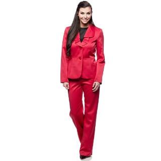 Le Suit Red 2-button Ruffle Collar Pant Suit