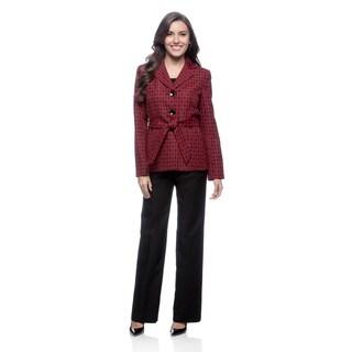 Le Suit 3-button Notch Collar Inset Waist with Sash Jacquard Jacket with Um Pant Suit