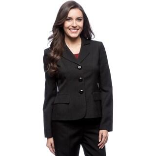 Le Suit 3-button Rounded Notch Collar Glazed Melange Jacket
