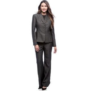 Le Suit Women's 3-button Lapel Collar Melange Pant Suit